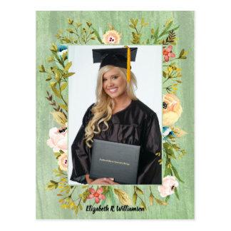 Elegant Flower Floral Graduation Photo Postcard