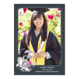 Elegant Flower Graduation Photo Portrait Thank You Card