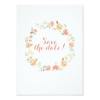 Elegant flower watercolor wedding save the date card