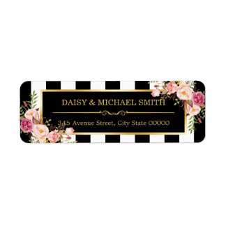 Elegant Flowers Black White Stripes Gold Frame Return Address Label
