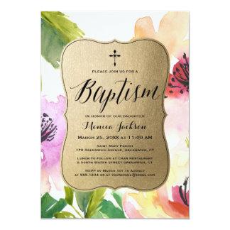 Elegant Flowers Gold   Baptism Card