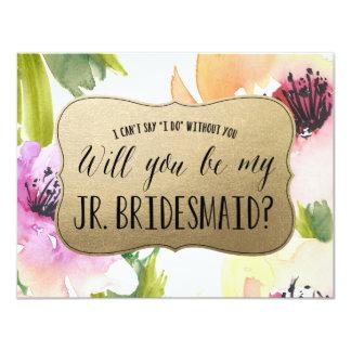 Elegant Flowers Gold | Junior Bridesmaid Card