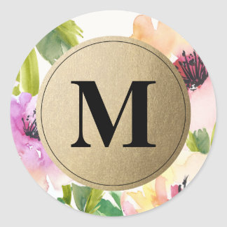 Elegant Flowers Gold Monogram   Favor Labels Round Sticker
