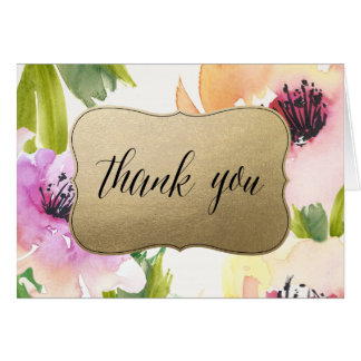 Elegant Flowers Gold | Thank You Card