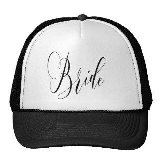 ELEGANT FLOWING BLACK SCRIPT BRIDE DESIGN CAP