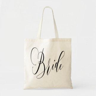 ELEGANT FLOWING BLACK SCRIPT BRIDE DESIGN TOTE BAG