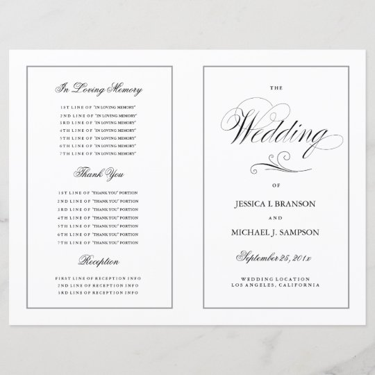 elegant folding wedding program silver border zazzle com au