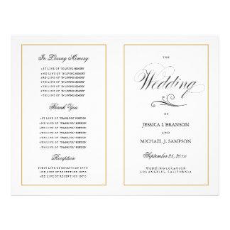 Elegant Folding Wedding Program Solid Gold Border 21.5 Cm X 28 Cm Flyer