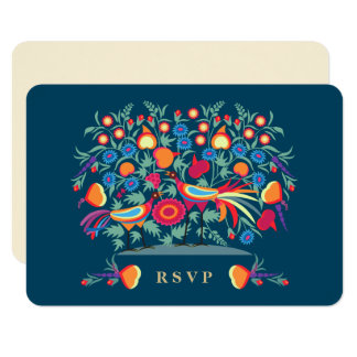 Elegant Folk Art Design RSVP Cards