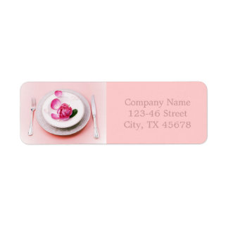 elegant fork knife plate wedding Catering Business Return Address Label