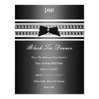 Elegant Formal Black Tie Silver Grey Dinner Invites