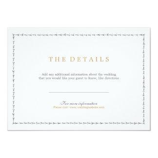 Elegant formal classic vintage wedding detail card 11 cm x 16 cm invitation card