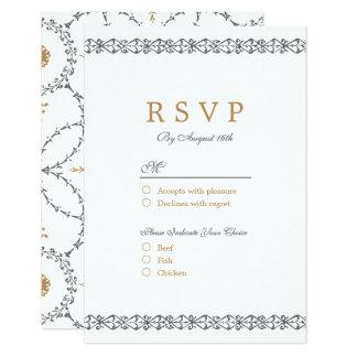 Elegant formal classic vintage wedding RSVP 9 Cm X 13 Cm Invitation Card