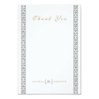 Elegant formal classic vintage wedding thank you 9 cm x 13 cm invitation card
