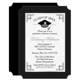 Elegant Formal Silver College Graduation Party Card