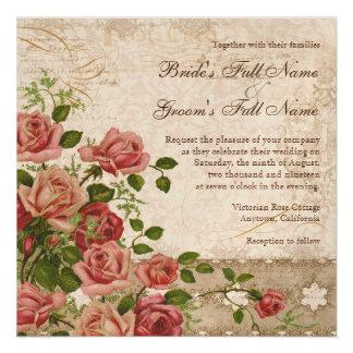 Elegant Formal Wedding Invite Tea Rose Vintage
