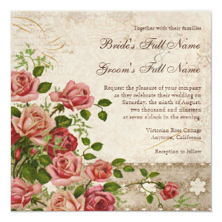 Elegant Formal Wedding Invite Tea Rose Vintage