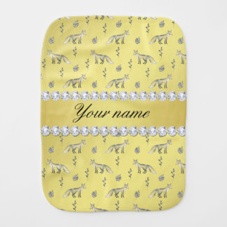 Elegant Fox Faux Gold Foil Bling Diamonds Baby Burp Cloths