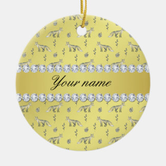 Elegant Fox Faux Gold Foil Bling Diamonds Ceramic Ornament