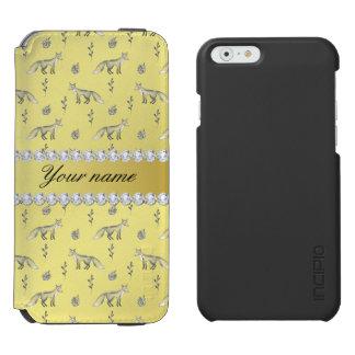 Elegant Fox Faux Gold Foil Bling Diamonds Incipio Watson™ iPhone 6 Wallet Case
