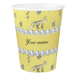 Elegant Fox Faux Gold Foil Bling Diamonds Paper Cup