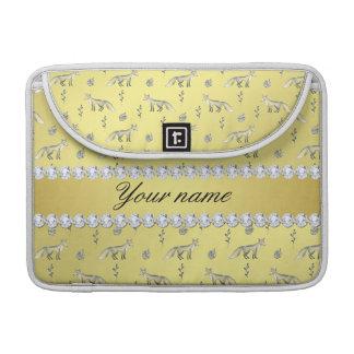 Elegant Fox Faux Gold Foil Bling Diamonds Sleeve For MacBook Pro