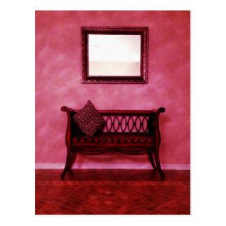 Elegant Foyer Settee Seat Mirror Interior Design Postcard