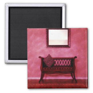 Elegant Foyer Settee Seat Mirror Interior Design Square Magnet