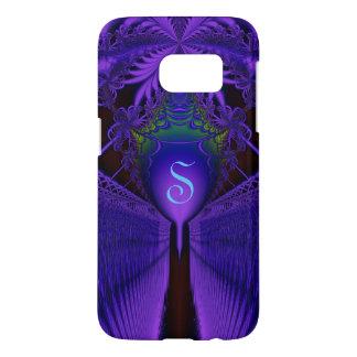 Elegant Fractal Lace Blue and Purple Monogrammed