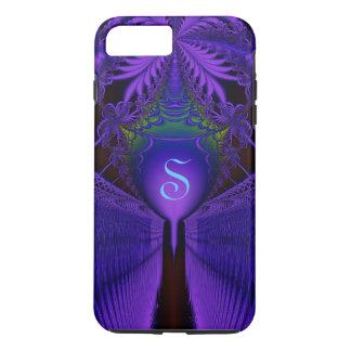Elegant Fractal Lace Blue and Purple Monogrammed iPhone 8 Plus/7 Plus Case