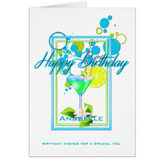 Elegant Frame Vivid Colors Birthday Cocktail Card
