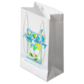 Elegant Frame Vivid Colors Birthday Cocktail Small Gift Bag