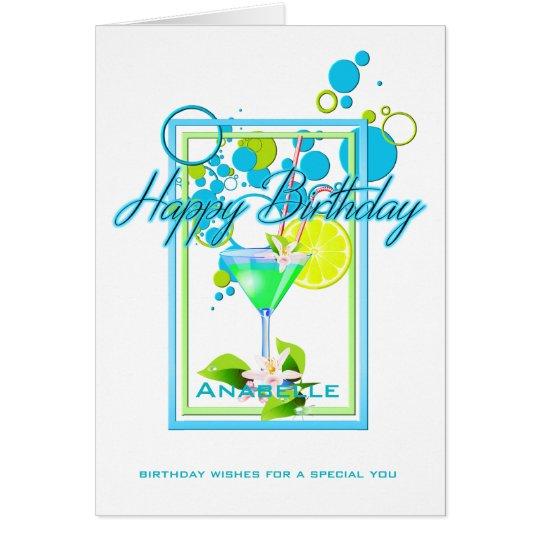 Elegant Frame Vivid Colours Birthday Cocktail Card