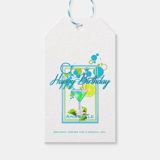 Elegant Frame Vivid Colours Birthday Cocktail Gift Tags