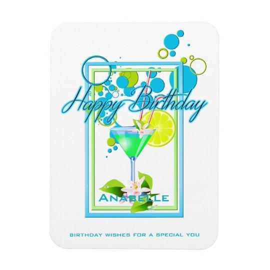 Elegant Frame Vivid Colours Birthday Cocktail Magnet