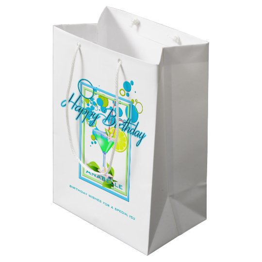 Elegant Frame Vivid Colours Birthday Cocktail Medium Gift Bag
