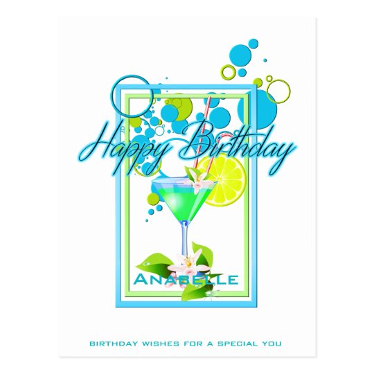 Elegant Frame Vivid Colours Birthday Cocktail Postcard