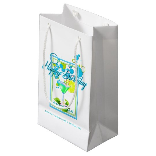 Elegant Frame Vivid Colours Birthday Cocktail Small Gift Bag