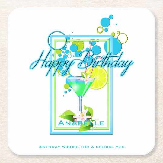 Elegant Frame Vivid Colours Birthday Cocktail Square Paper Coaster