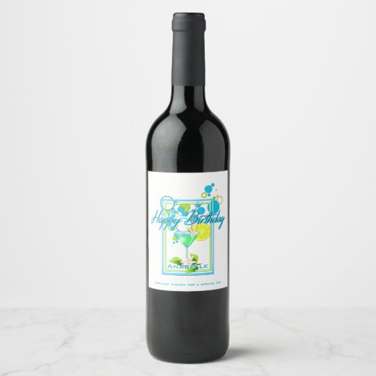 Elegant Frame Vivid Colours Birthday Cocktail Wine Label