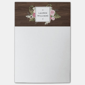 Elegant French Country Pink Roses on Woodgrain Post-it® Notes