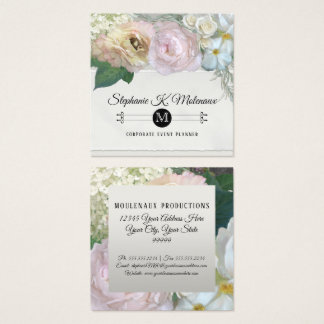 Elegant French Market Floral Peony Rose Flower Art Square Business Card