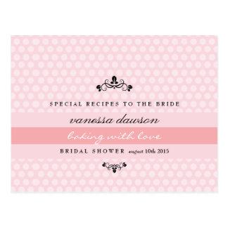 Elegant French Pink Bridal Shower Recipe Card