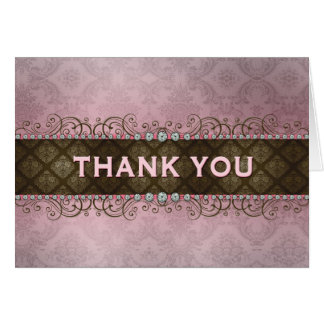 Elegant French Pink Girly Bling Thank You Cards
