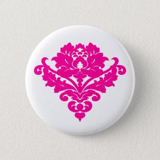 Elegant fuchsia damask on white 6 cm round badge