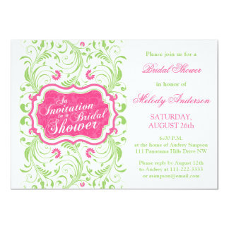 Elegant Fuchsia Pink Green Floral Bridal Shower Card