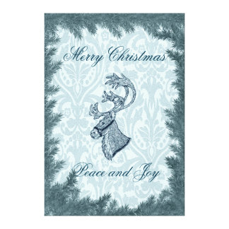 Elegant fun Christmas reindeer holiday damask Stretched Canvas Prints