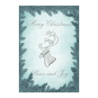 Elegant fun Christmas reindeer holiday Stretched Canvas Prints