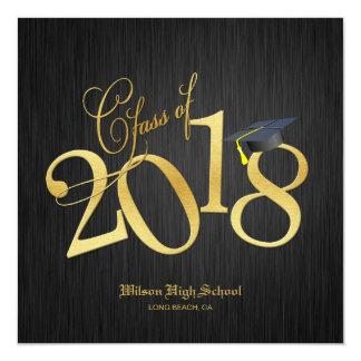 Elegant Funky Gold Class of 2018 Graduation Card