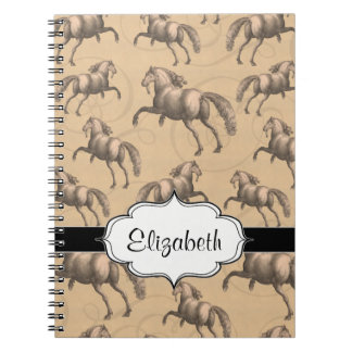 Elegant Galloping Spanish Horse Spiral Notebooks